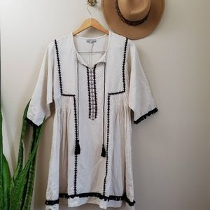World Market embroidered boho dress fringe detail